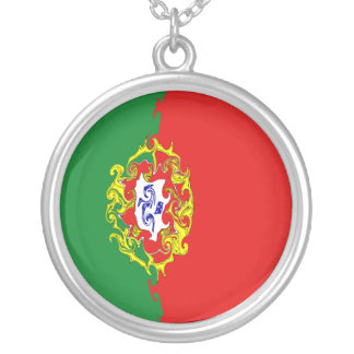 Portugal Gnarly Flag Round Pendant Necklace
