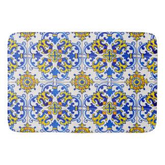 Portuguese Azulejo Traditional Tiles On Bath Mats