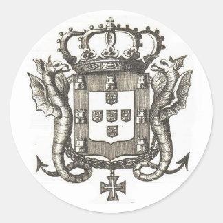 Portuguese crest classic round sticker