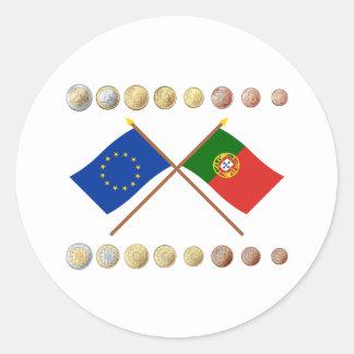 Portuguese Euros and EU & Portugal Flags Classic Round Sticker