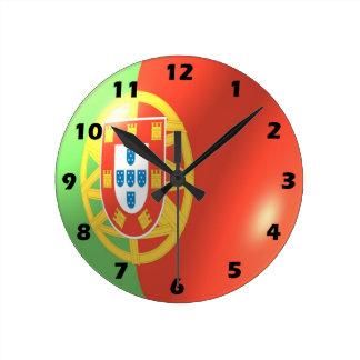 Portuguese Flag Design Round Clock