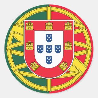 Portuguese flag quality classic round sticker