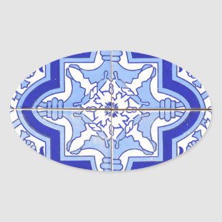 Portuguese Tile Blue and White Oval Sticker