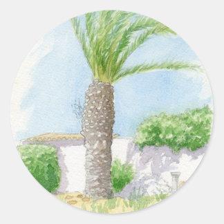 Portuguese tree and villa classic round sticker