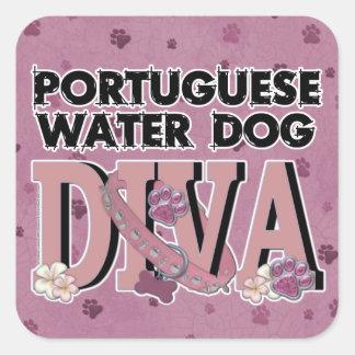 Portuguese Water Dog DIVA Square Sticker