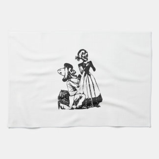 Posada Cavalera Courting Skeleton Couple Tea Towel