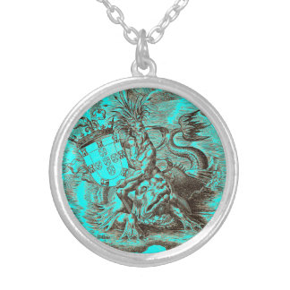 Poseidon Riding Dolphin World Map Silver Plated Necklace