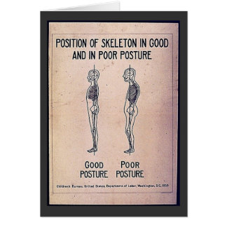 Position Of Skeleton In Good And In Poor Posture Greeting Card