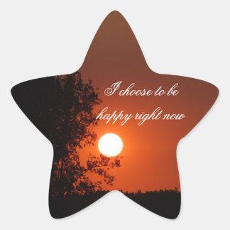Positive Affirmation motivation about hapiness Star Sticker