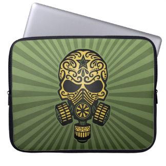 Post Apocalyptic Sugar Skull, army green Computer Sleeves