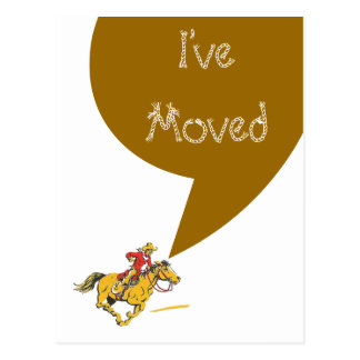 Postcard Cowboy Moving I've Moved New Address PC