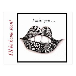 Postcard Doodle Lips I miss you