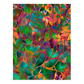 Postcard Floral Abstract Stained Glass