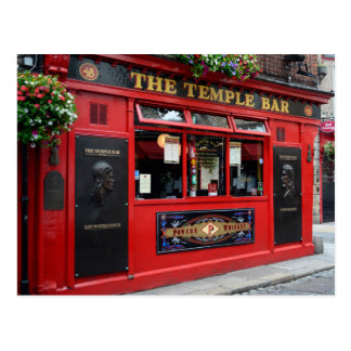 Postcard of red Temple Bar pub in Dublin