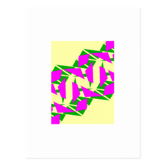 Postcard with Magenta and Yellow Design
