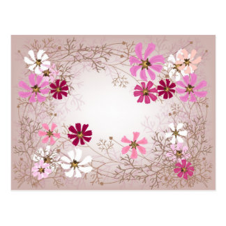 Postcard with tender floral background.