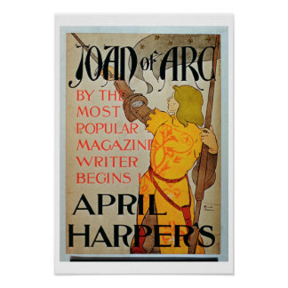 Poster advertising 'Joan of Arc' in April Harper's