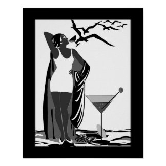 Poster ART DECO LADY Black White Martini