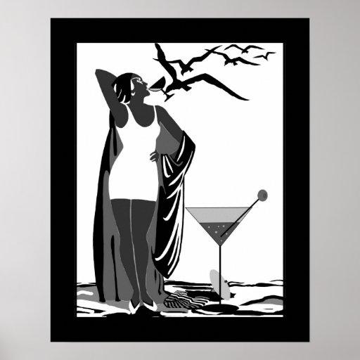 Poster Art Deco Lady Black White Martini Zazzle