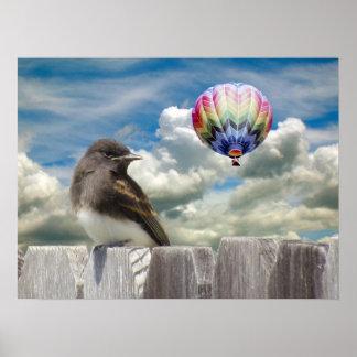 Poster - Bird and hot air balloon