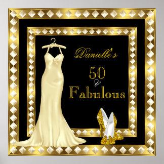 Poster Birthday Gold Black High Heel Dress