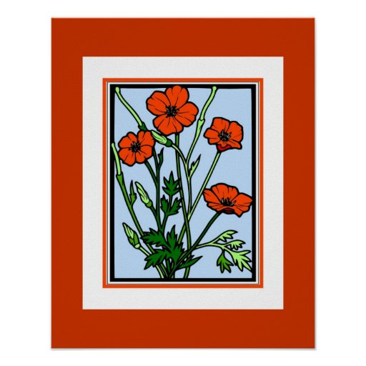 Poster Vintage Art Orange Red Poppies Posters