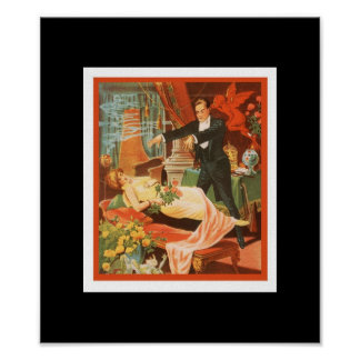 Poster Vintage Theater Magician Print