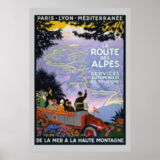 Poster - Vintage Travel La Route des Alpes