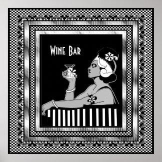 Poster Vintage Wine Bar Art Deco