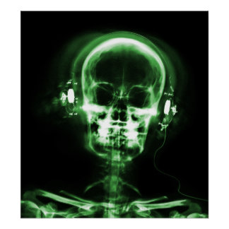 POSTER- X-RAY MUSIC SKELETON BLACK GREEN POSTER