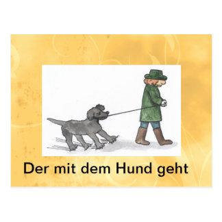 postkarte hund mann leine spaß