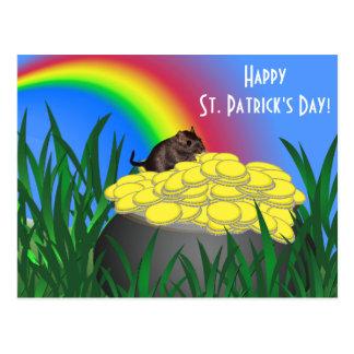 Pot of Gold w/Gerbil - St Patrick's Day Postcard
