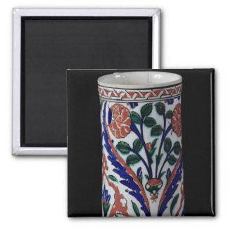 Pot with a floral decoration, Iznik Square Magnet