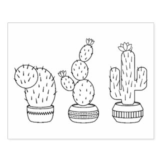 Potted Cacti - Cactus Plants Coloring Page Rubber Stamp