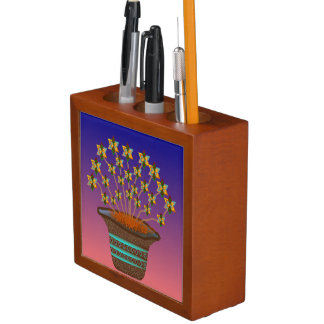 Potted Pinwheels Desk Pen and Pencil Organizer
