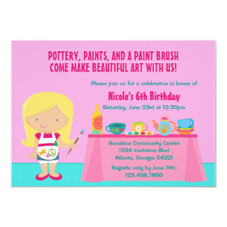 Pottery Painting Arts and Crafts Birthday Party 13 Cm X 18 Cm Invitation Card