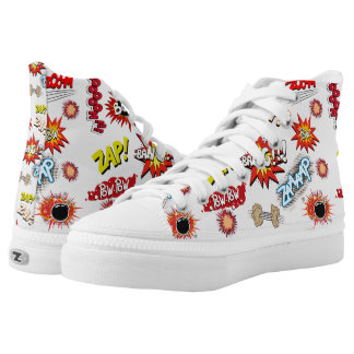 Pow Bang Zap Novelty Geek Comic Art Typography Printed Shoes