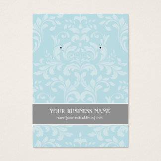 Powder Blue Gray Damask Custom Earring Card