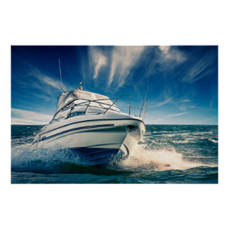 Power Boat Coming Into Chichester Harbour Poster