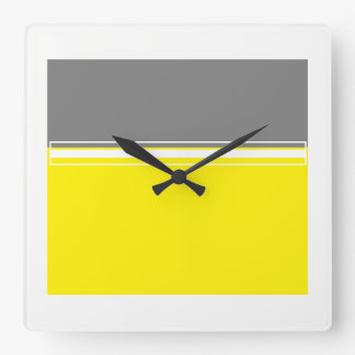 Power of yellow and grey Square Wall Clock