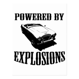 """Powered by Explosions"" British Sports Car Postcard"