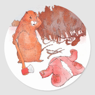 Prairie Dog with Axe and Ruined Red Coat Round Stickers