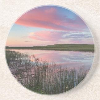 Prairie Pond Reflects Brilliant Sunrise Clouds Coaster
