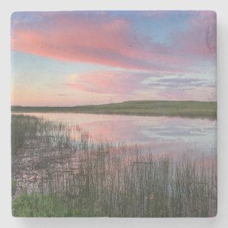 Prairie Pond Reflects Brilliant Sunrise Clouds Stone Coaster