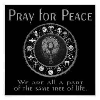 Pray for Peace in Black and White Poster