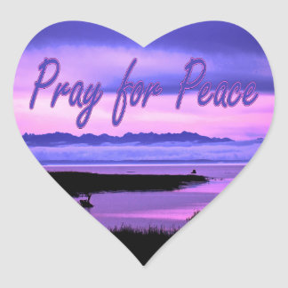 pray for peace (pink scenic) heart sticker