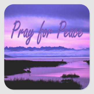 pray for peace (pink scenic) square sticker