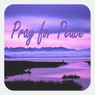 pray for peace (pink scenic) square sticker