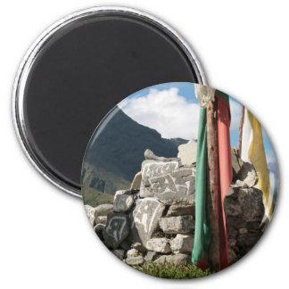 Prayer flags in Nepal 6 Cm Round Magnet