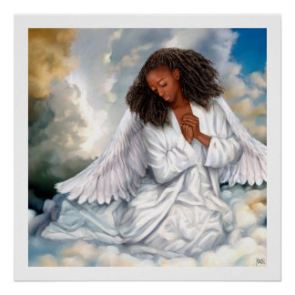 Praying Afro Angel Painting Art Print